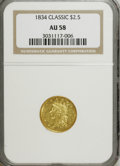 Classic Quarter Eagles: , 1834 $2 1/2 Classic AU58 NGC. NGC Census: (251/301). PCGS Population (82/184). Mintage: 112,234. Numismedia Wsl. Price for ...