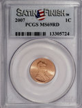 Lincoln Cents, 2007 1C Satin Finish MS69 Red PCGS. PCGS Population (190/0). NGCCensus: (0/0). (#149539)...