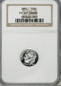 Proof Roosevelt Dimes: , 1954 10C PR67 Cameo NGC. NGC Census: (129/108). PCGS Population(88/19). Numismedia Wsl. Price for NGC/PCGS coin in PR67: ...