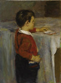 Fine Art - Painting, Russian:Contemporary (1950 to present), VLADIMIR ALEXEEVITH VASSIN (Russian, b. 1918). Young BoyReading, 1965. Oil on board. 22 x 16-1/4 inches (55.9 x 41.3cm...