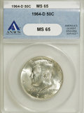 Kennedy Half Dollars: , 1964-D 50C MS65 ANACS. NGC Census: (163/104). PCGS Population(505/413). Mintage: 156,205,440. Numismedia Wsl. Price for NG...