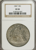Seated Dollars: , 1847 $1 XF45 NGC. NGC Census: (39/244). PCGS Population (69/252).Mintage: 140,750. Numismedia Wsl. Price for NGC/PCGS coin...