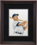 """Baseball Collectibles:Others, 1985 Mickey Mantle """"Sluggers of the Hall of Fame"""" Original Artworkby Dick Perez...."""