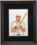 "Baseball Collectibles:Others, 1985 Johnny Mize ""Sluggers of the Hall of Fame"" Original Artwork byDick Perez...."