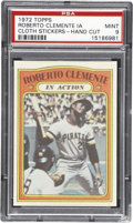 """Baseball Cards:Singles (1970-Now), 1972 Topps Test """"Cloth Stickers"""" Roberto Clemente - PSA MINT 9 """"1 of 1!""""..."""