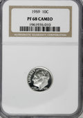 Proof Roosevelt Dimes: , 1959 10C PR68 Cameo NGC. NGC Census: (150/49). PCGS Population(74/15). Numismedia Wsl. Price for NGC/PCGS coin in PR68: $...