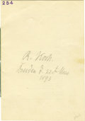 "Autographs:Inventors, Nobel Prize-Winning Scientist Robert Koch Signature, 5.25"" x 7.5"".Pencil signature on verso of a printed program for ""Hof..."