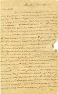 Autographs:Military Figures, Robert Livingston Autograph Letter Signed to his brother concerning personal matters with some discussion of, possibly, the ...