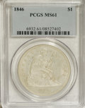 Seated Dollars: , 1846 $1 MS61 PCGS. The silver-white surfaces show light haze, alongwith a smattering of smal...