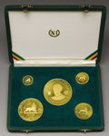 Ethiopia: , Ethiopia: Uniface Gilt Bronze Proof Set 1966, Gill S21-25, the 10, 20, 50, 100 and 200 Dollars struck to mark Haile Selassie's 50th ye... (Total: 5 Coins Item)