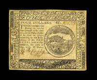 Continental Currency May 10, 1775 $4 About New. A single center fold and a minor repaired split hold this First Issue Co...