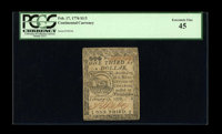 Continental Currency February 17, 1776 $1/3 PCGS Extremely Fine 45. This Fugio fractional note has light folds, as well...