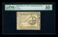 Colonial Notes:Continental Congress Issues, Continental Currency February 17, 1776 $2 PMG About Uncirculated 55EPQ. This pretty Continental is one extremely light cent...