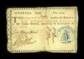 Colonial Notes:Georgia, Georgia 1776 $1 Choice Very Fine. The only repair on this lovelynote is a tear in the top margin. There has been no paper r...