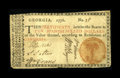 Colonial Notes:Georgia, Georgia 1776 $10 Very Fine. Perfect for the grade, without a hintof a repair, restoration, or problem of any kind. The marg...