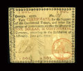 Colonial Notes:Georgia, Georgia June 8, 1777 $1 Fine. Serial number 100 graces this note.It is evenly toned over most of its surface. What looks to...
