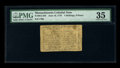 Colonial Notes:Massachusetts, Massachusetts June 18, 1776 4s/6d PMG Choice Very Fine 35. This isthe first time a note of this type has appeared at auctio...