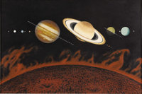 CHESLEY K. BONESTELL (American 1888 - 1986) Solar System Oil on board 21 x 32in. Signed lower left
