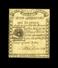 Colonial Notes:Massachusetts, Massachusetts 1779 4s/6d Very Fine-Extremely Fine. This note is closely margined, but beautifully well-printed. These histor...