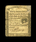 Colonial Notes:Massachusetts, Massachusetts 1779 5s Fine-Very Fine. The upper right corner hasbeen professionally replaced, adding to the eye appeal of t...