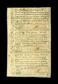 Colonial Notes:North Carolina, North Carolina December, 1771 2s/6p, £1, 10s Uncut Sheet Very Choice New. The top note of the 2s/6d House Variety has the n...