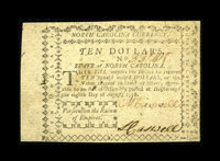 North Carolina August 8, 1778 $10 Choice About New. This note is beautifully margined and a great-looking example of thi...