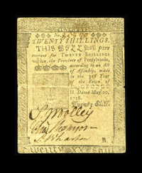 Pennsylvania May 20, 1758 20s Fine. Benjamin Franklin and David Hall printed this scarce issue. This example carries a h...