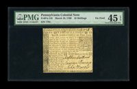 Pennsylvania March 10, 1769 10s PMG Choice Extremely Fine 45 EPQ. Not a very rare note in lower grade even though only 2...