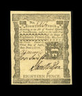 Colonial Notes:Pennsylvania, Pennsylvania April 3, 1772 18d Superb Gem New. A gorgeous note, with three bold signatures, broad, even margins all the way ...