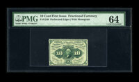 Fr. 1240 10c First Issue PMG Choice Uncirculated 64. Full perforations all around are noticed with a touch of weakness i...
