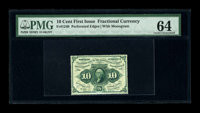 Fr. 1240 10c First Issue PMG Choice Uncirculated 64. This is a pleasing piece with full perforations all the way around...