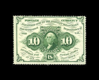 Fr. 1241 10c First Issue About New. This is a bright and well perforated example of this scarcer no monogram number that...