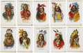 """Non-Sport Cards:General, Circa 1910 S67 Indian Chiefs Silks Complete Set (50) - A Matching """"Numbers Only"""" Assembly...."""