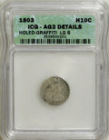 Early Half Dimes, 1803 H10C Large 8--Graffiti, Holed--AG3 ICG. AG3 Details. NGCCensus: (0/35). PCGS Population (0/87). Mintage: 37,850. Numi...