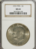 Eisenhower Dollars, 1972 $1 Type One MS65 NGC. PCGS Population (210/4). Numismedia Wsl. Price for NGC/PCGS coin in MS65: $1...