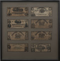"Military & Patriotic:Civil War, Eight Confederate Currency Notes in Custom Frame of 20.5"" x 20.5"". Consists of larger denomination notes, as follows:..."