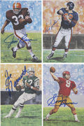 Football Collectibles:Others, 1990-91 Hall of Fame Goal Line Art Series One through Three Signed by Sixty....
