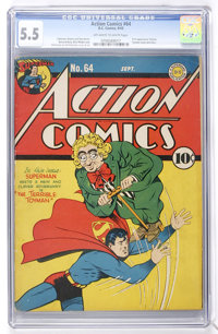 Action Comics #64 (DC, 1943) CGC FN- 5.5 Off-white to white pages