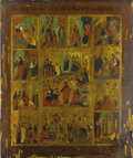 Fine Art - Painting, Russian:Antique (Pre-1900), A RUSSIAN ICON OF THE RESURRECTION WITH TWELVE FEASTS. 19thcentury. 20-3/4 x 17-1/2 inches (52.7 x 44.5 cm). ...