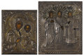 Fine Art - Painting, Russian:Antique (Pre-1900), TWO RUSSIAN TRAVELING ICONS. 19th Century. 5-1/4 x 4-1/4 inches(13.3 x 10.8 cm) larger. ... (Total: 2 Items)