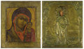Fine Art - Painting, Russian:Antique (Pre-1900), TWO RUSSIAN ICONS. Late 18th and 19th centuries. 12 x 10-1/2 inches(30.5 x 26.7 cm) larger. ... (Total: 2 Items)