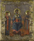 Fine Art - Painting, Russian:Antique (Pre-1900), A RUSSIAN ICON OF THE MOTHER OF GOD ENTHRONED. 19th century. 12-1/2x 10-1/4 inches (31.8 x 26.0 cm). ...