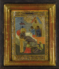 Fine Art - Painting, Russian:Antique (Pre-1900), A RUSSIAN ICON OF THE BIRTH OF THE VIRGIN. 19th century. 8-3/4 x 7 inches (22.2 x 17.8 cm). ...