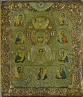Paintings, A RUSSIAN ICON OF THE MOTHER OF GOD OF THE SIGN. Late 19th-early 20th century. 12 x 10-1/2 inches (30.5 x 26.7 cm). ...