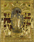 "Fine Art - Painting, Russian:Antique (Pre-1900), A RUSSIAN ICON OF THE MOTHER OF GOD ""JOY TO ALL WHO GRIEVE"". 19thCentury. 12-1/2 x 10-1/2 inches (31.8 x 26.7 cm). ..."