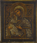 Fine Art - Painting, Russian:Antique (Pre-1900), A RUSSIAN ICON OF THE VLADIMIR MOTHER OF GOD. 18th century. 14 x11-3/4 inches (35.6 x 29.8 cm). ...