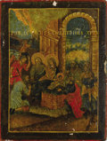 Fine Art - Painting, Russian:Antique (Pre-1900), A RUSSIAN ICON OF THE NATIVITY. 19th century. 13-1/4 x 10 inches (33.7 x 25.4 cm). ...