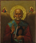 Paintings, A RUSSIAN ICON OF SAINT NICHOLAS. 19th century. 16-3/4 x 13-1/2 inches (42.5 x 34.3 cm). ...
