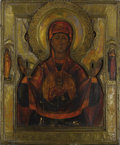 Fine Art - Painting, Russian:Antique (Pre-1900), A RUSSIAN ICON OF THE MOTHER OF GOD OF THE SIGN. Mid 19th century.17-1/4 x 14-1/2 inches (43.8 x 36.8 cm). ...