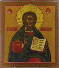 Fine Art - Painting, Russian:Antique (Pre-1900), A RUSSIAN ICON OF CHRIST PANTOCRATOR. 19th century. 14 x 12-1/4inches (35.6 x 31.1 cm). ...